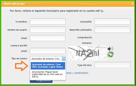 Adfly registro